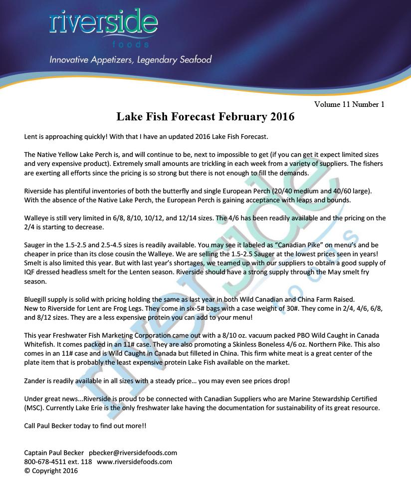 Lake Fish Forecast 02-08-16