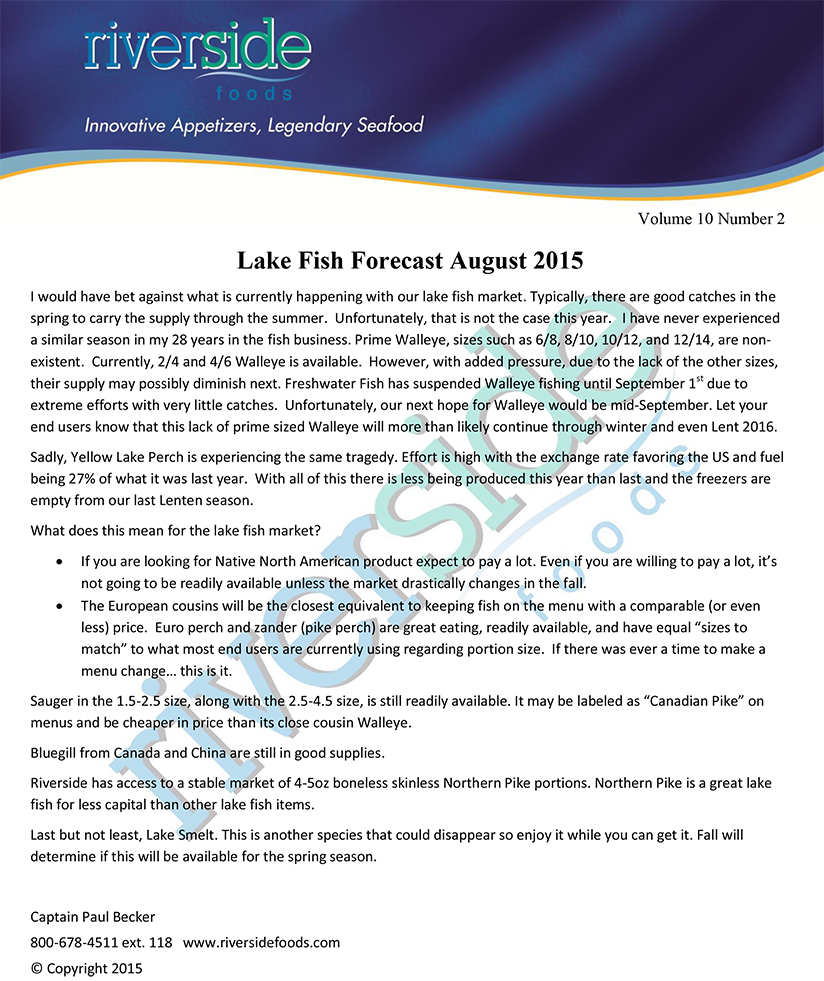 Lake fish forecast riverside foods for Fishing weather report