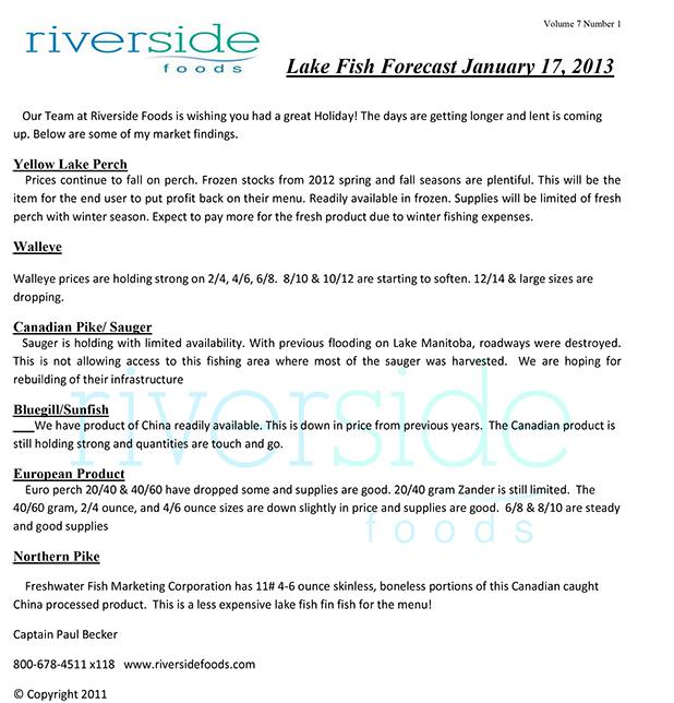 Lake Fish Forecast 01-17-13
