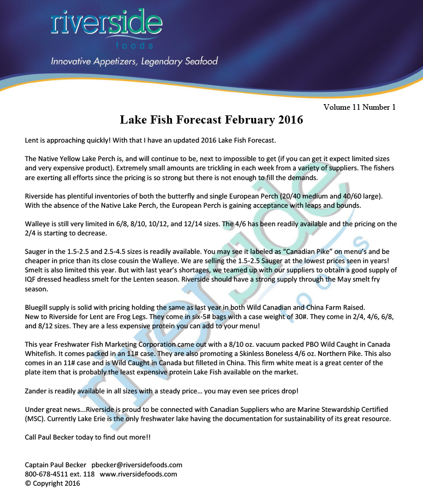 Lake Fish Forecast 02-08-16