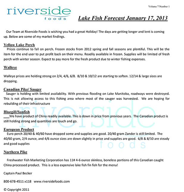 Lake Fish Forecast 01-17-13