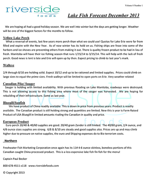 Lake Fish Forecast 12-24-13